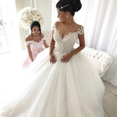 Elegantes vestido de boda con mangas del casquillo | con cuello en V fuera del hombro_3