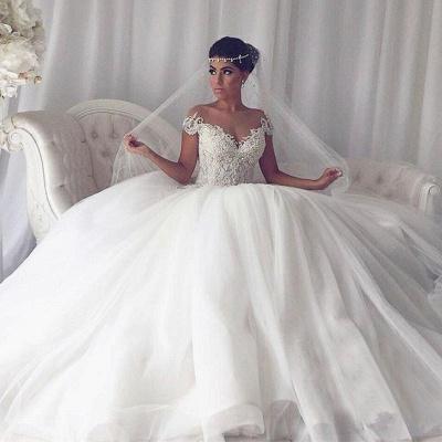 Elegantes vestido de boda con mangas del casquillo | con cuello en V fuera del hombro_4