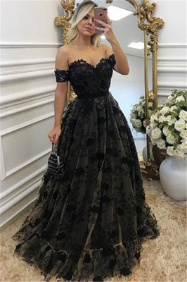 1ce251fd49e Sexy Black Lace Neck Applique Short Sleeves Long Formal Prom Dresses