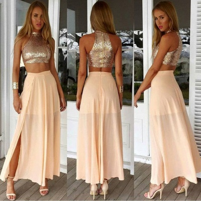 Sexy High Collar Two Piece Prom Dress Cheap Sequined Chiffon Formal Occasion Dresses_3