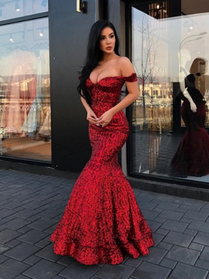 2019 Mermaid Sparkly Sequined Evening Dresses | Off-The-Shoulder Floor Length Prom Dresses