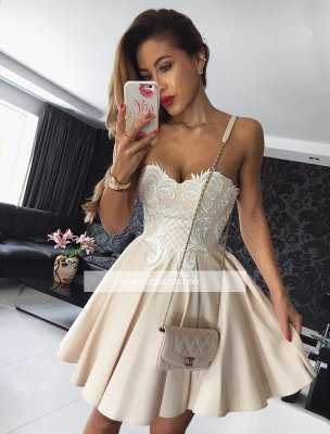 Hot Champagne Homecoming Dresses | Sweetheart Neckline Puffy Hoco Dresses_1