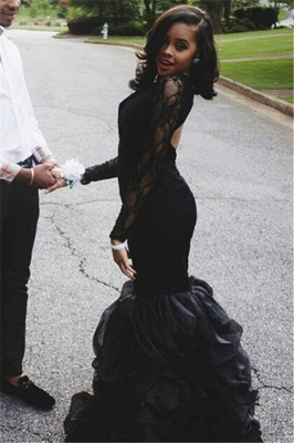 Mermaid Ruffles Long Sleeve Lace Prom Dresses Sexy Keyhole Black Evening Gown BA4937_3