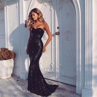 Paillettes sexy de sirène chérie robes de soirée formelles bon marché_2