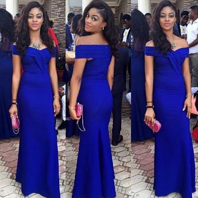 Royal Blue Wedding Guest Dress Sheath Off Shoulder 2021 Prom Dress BA3120_3