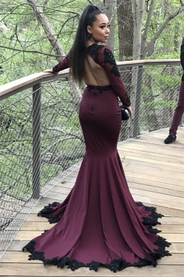 Sexy Mermaid Long Sleeves Prom Dresses Appliques Open Back Evening Dresses with Beadings SK0041_3