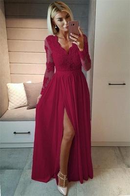 Sexy Split Langarm Abendkleid Günstige Schwarze Spitze V-Ausschnitt 2020 Prom Kleider BA7525_5