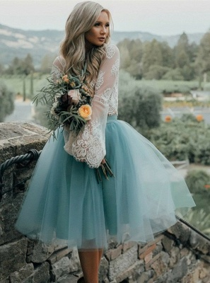 Chic Lace Long Seeves Tutu Tulle  Homecoming Dresses_1