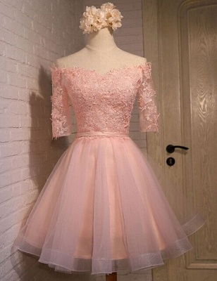 New Lace Appliques Off-the-shoulder Half Sleeve Short Homecoming Dress_1