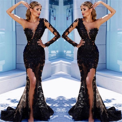 Modern Black Lace One-Shoulder Prom Dress | Front Split Evening Gown BA9571_3