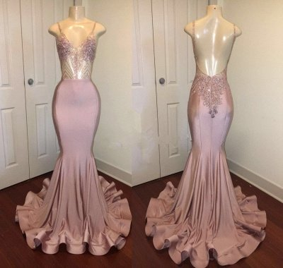 Newest Pink Beads Spaghetti Strap Prom Dress | Mermaid Prom Dress_4