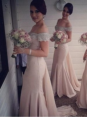 Sexy Crystal Off the Shoulder Mermaid Bridesmaid Dress New Arrival Beadings Long Wedding Party Dress_1