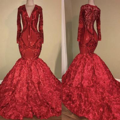 V-образным вырезом Sparkle Appliques Платье для выпускного Mermaid с цветочным принтом | Роскошное красное платье с длинным рукавом для выпускного вечера 2019_3