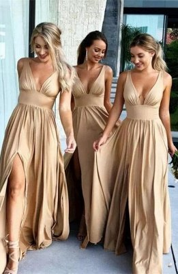 Elegant V-Neck Sleeveless Bridesmaid Dress | 2019 Bridesmaid Dress With Slit_1