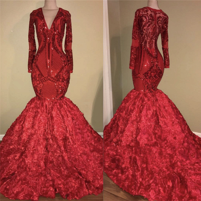 Sexy V-neck Sparkle Appliques Fit and Flare Floral Prom Dress | Elegant Long Sleeve Luxury Scarlet Dress for Prom_3