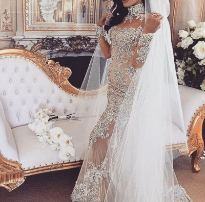 Long Sleeve Silver High Neck Popular Evening Dress Lace Mermaid Luxury Wedding Dresses BH-362_5
