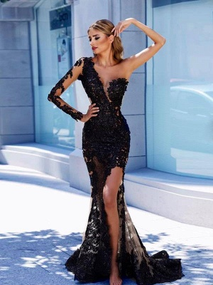 Modern Black Lace One-Shoulder Prom Dress | Front Split Evening Gown BA9571_2