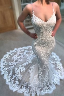 Sexy Spaghetti Straps Lace Wedding Dresses | Cheap Online Mermaid Dresses for Weddings