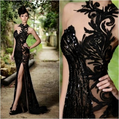 Sexy Black Prom Dress| Mermaid Evening Dress With Slit_5