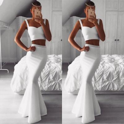 Magnifique deux pièces robe de bal blanc | Robes de soirée sirène perlées en vente_3