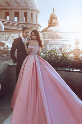 Glamorous Off-the-Shoulder Princess candy Pink Evening Dress With Appliques BA7675_3