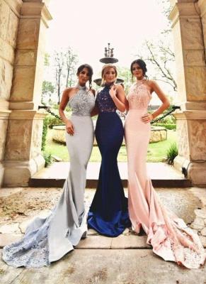 Sexy Halter-Neck Lace Appliques Halter Open-Back Bridesmaid Dresses_1