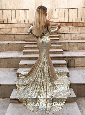 Wholesale Off The Shoulder Champagne Sequins Prom Dresses | Elegant Long Sleeve Side Slit Evening Gowns_4
