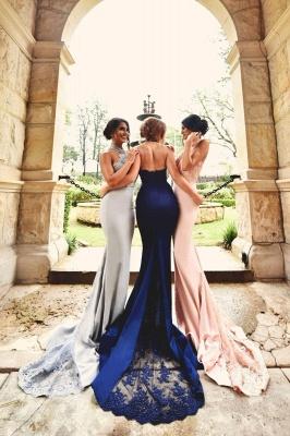 Sexy Halter-Neck Lace Appliques Halter Open-Back Bridesmaid Dresses_2